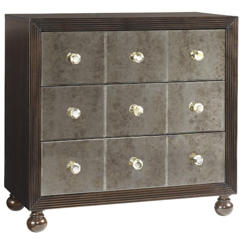 Tommy Bahama Home Royal Kahala Three-Drawer Starlight Mirrored Nightstand with Penn Shell Hardware