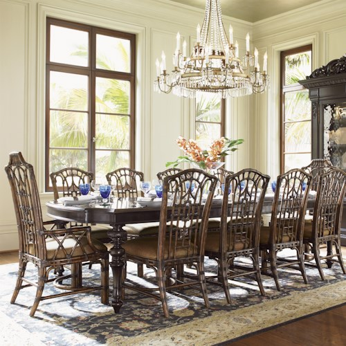 Tommy Bahama Home Royal Kahala Eleven-Piece Islands Edge Dining Table & Pacific Rim Chairs Set