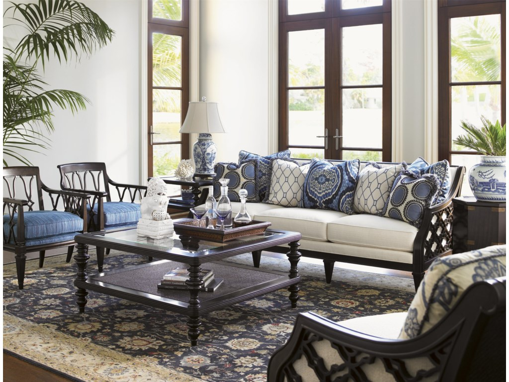 Shown with Ginger Chairs, Tropic Lamp Table, Bay Club Sofa, Pacific Campaign Accent Table, and Bay Club Chair