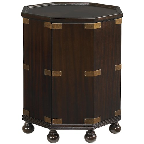 Tommy Bahama Home Royal Kahala Octagonal Pacific Campaign Accent Table with One Door & One Shelf