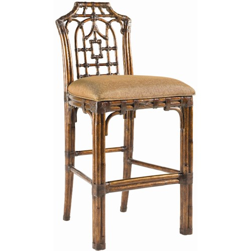 Tommy Bahama Home Royal Kahala Customizable Rattan & Leather Pacific Rim Bar Stool
