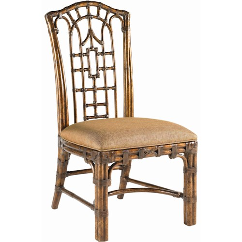 Tommy Bahama Home Royal Kahala Quick Ship Rattan & Leather Pacific Rim Side Chair with Upholstered Seat