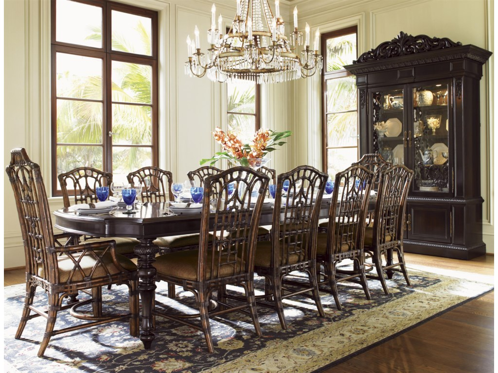 Shown with Pacific Rim Arm Chairs, Islands Edge Dining Table, and Ocean Crest Display Cabinet