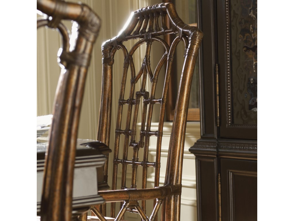 Rattan with Leather Wrapping Makes a Striking Design on the Chair Back