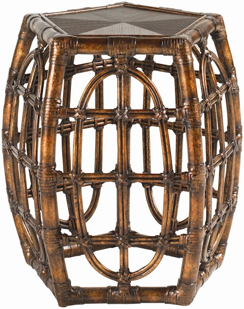 Tommy Bahama Home Royal Kahala Rattan with Leather Binding Oval Reef Accent Table