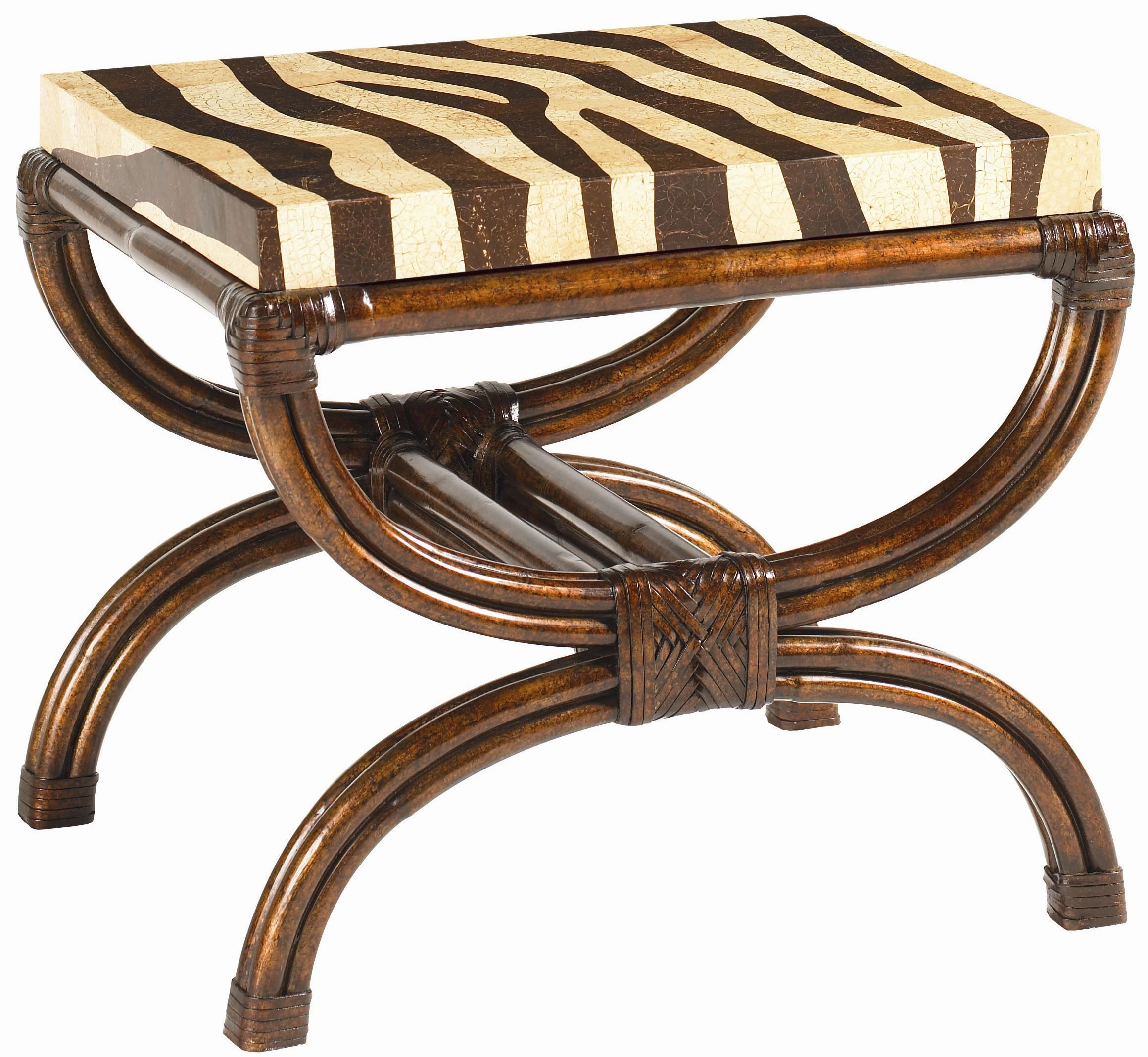 Tommy Bahama Home Royal Kahala Coco Shell Zebra Print Striped Delight Accent  Table