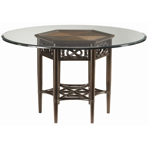 Tommy Bahama Home Royal Kahala Sugar and Lace Table with 54-Inch Round Glass Top