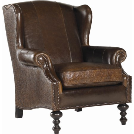Batik Leather Wing Chair