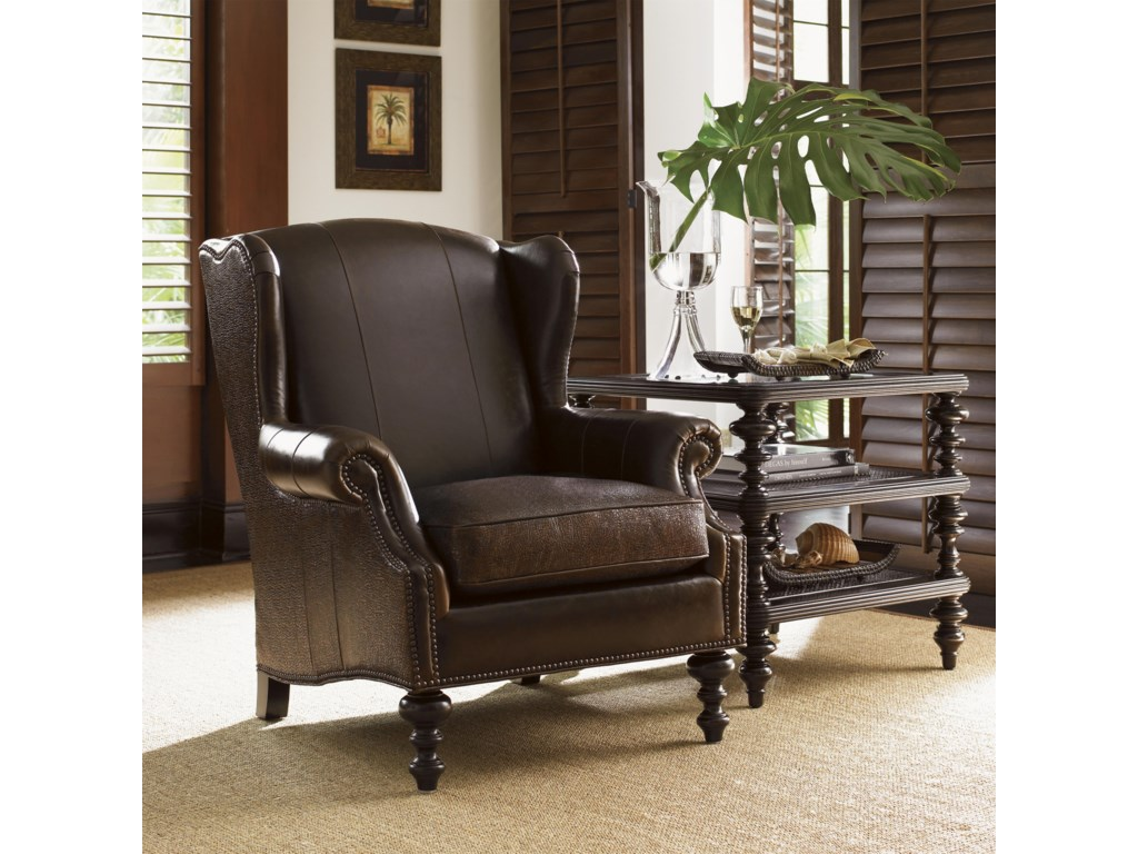 Tommy Bahama Home Royal KahalaBatik Leather Wing Chair