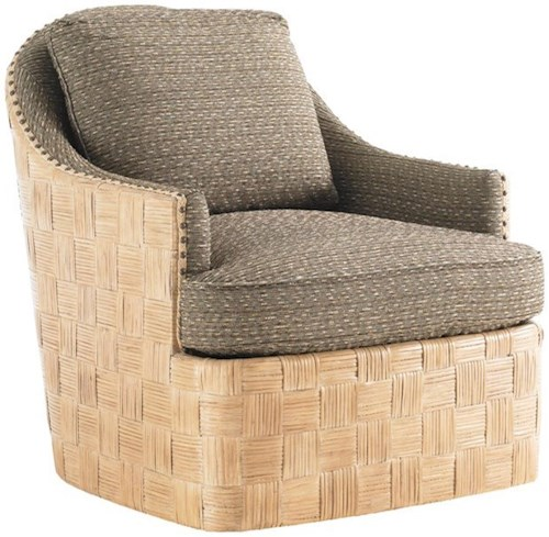 Tommy Bahama Home Tommy Bahama Upholstery Byron Bay Fabric-Upholstered Swivel Chair with Parquet Pattern Woven Rattan