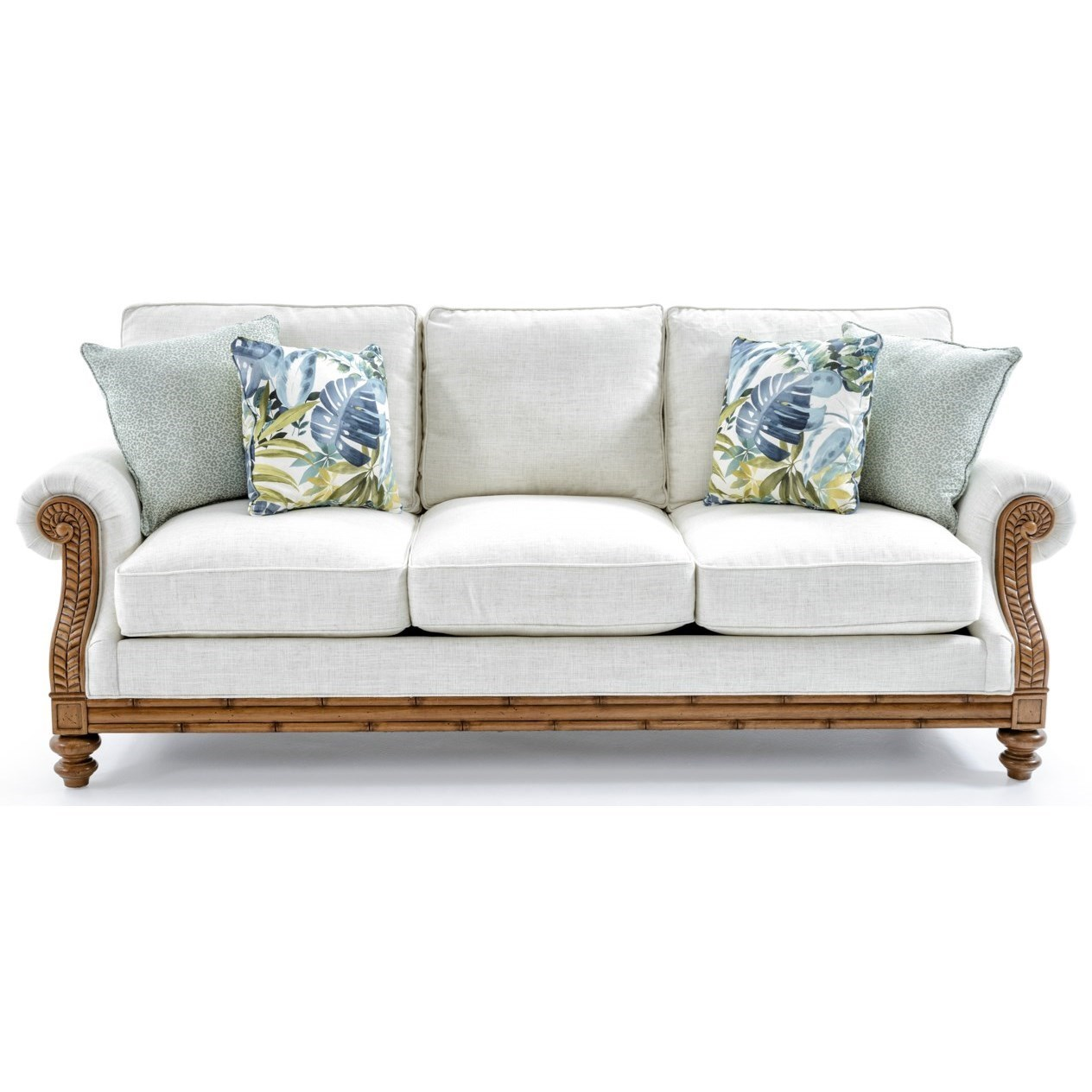 Tommy Bahama Home Tommy Bahama Upholstery Quick Ship West Shore Sofa With  Exposed Wood Accents