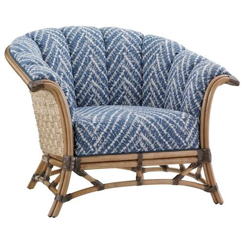 Tommy Bahama Home Twin Palms Pelican Key Chair with Basket-Woven Banana Leaf Detail