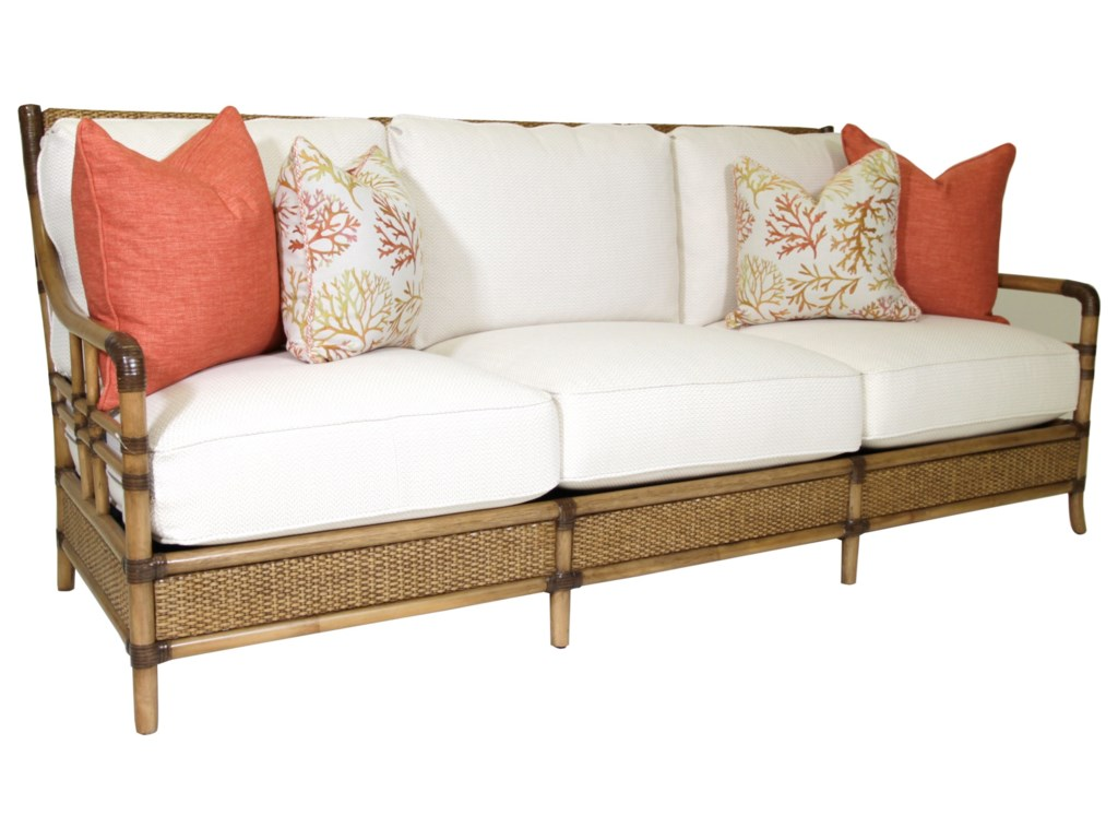 Tommy Bahama Home Twin Palms 1845-33 Seagate Sofa with Woven and ...