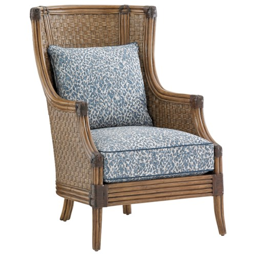 Tommy Bahama Home Twin Palms Coral Reef Upholstered Chair with Woven Split Rattan Frame