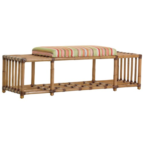Tommy Bahama Home Twin Palms Seafarer Rattan Accent Bench with Cushioned Seat