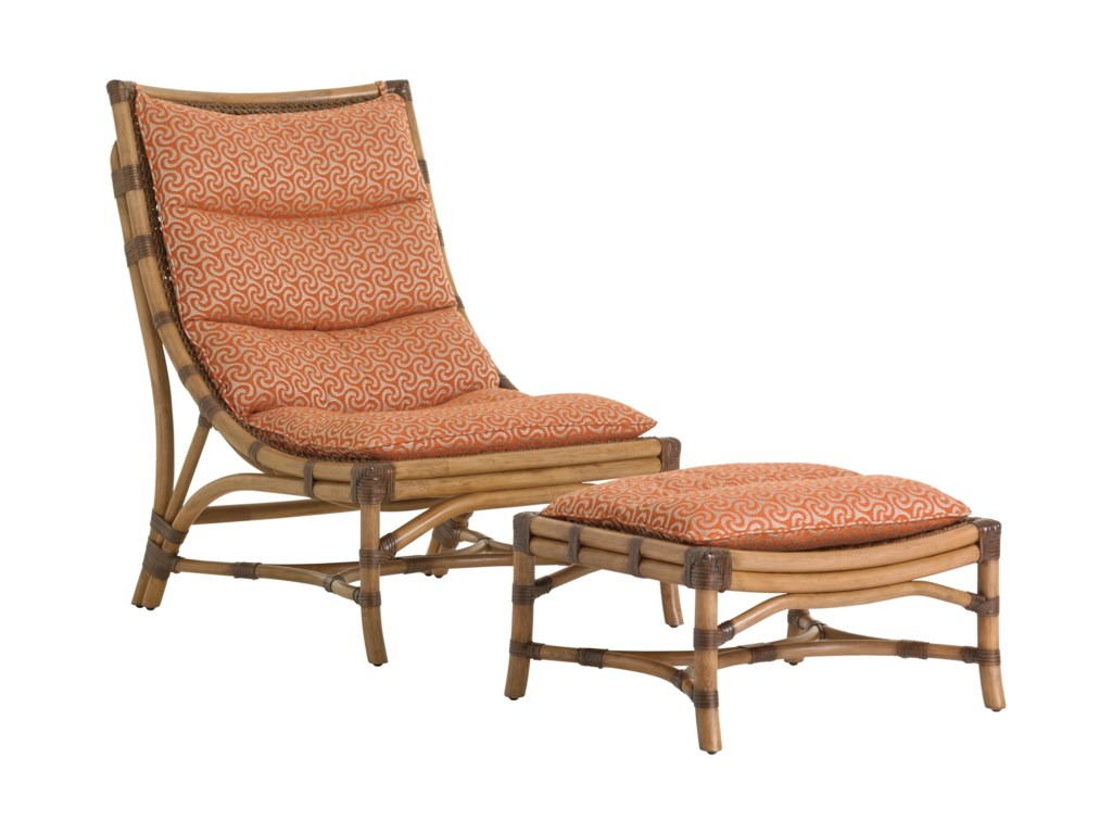 Tommy Bahama Home Twin PalmsHammock Bay Chair and Ottoman Set