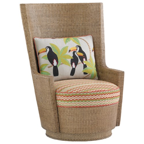 Tommy Bahama Home Twin Palms Lago Mar Swivel Chair with Orange Striped Cushion and Toucan Pillow