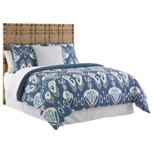 Tommy Bahama Home Twin Palms Queen Size Coco Bay Woven Raffia Headboard