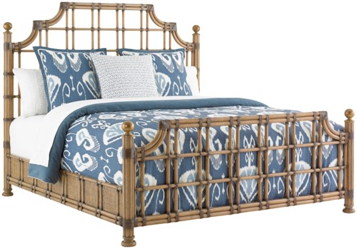 Tommy Bahama Home Twin Palms St. Kitts Woven Rattan Bed King Size with Leather Wrappings and Brass Finials