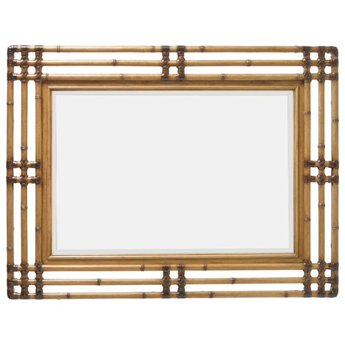 Tommy Bahama Home Twin Palms Savana Bamboo Carved Mirror with Leather Wrap Detail