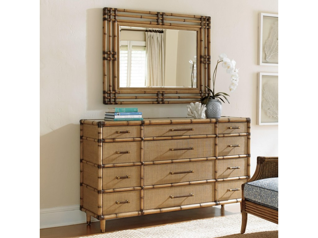 Tommy Bahama Home Twin PalmsWindward Dresser and Savana Mirror Set