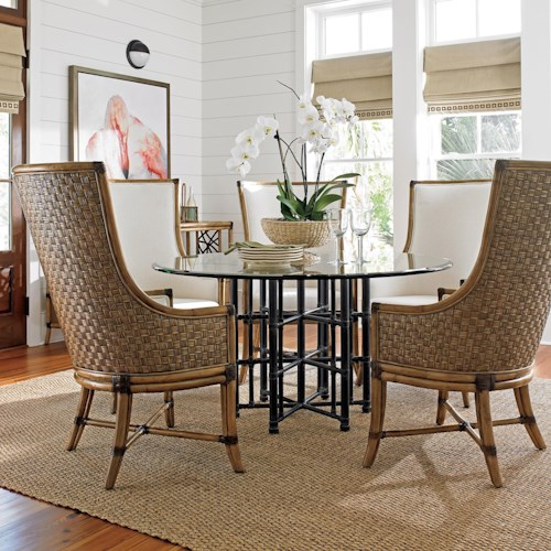 Tommy Bahama Home Twin Palms Six Piece Dining Set with Stellaris 60