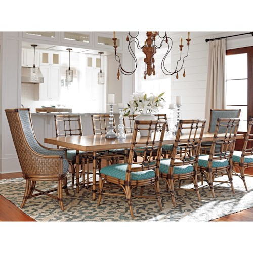 Tommy Bahama Home Twin Palms Eleven Piece Dining Set with Caneel Table and Seaview Chairs in Customizable Upholstery