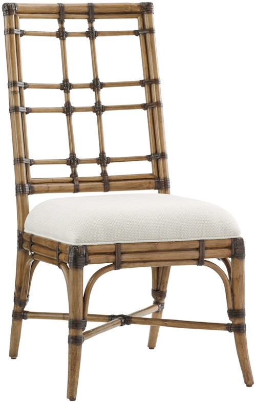 Tommy Bahama Home Twin Palms Seaview Side Chair in Sand Dollar Fabric