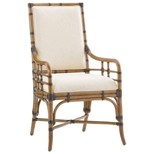 Tommy Bahama Home Twin Palms Summer Isle Upholstered Arm Chair in Sand Dollar Fabric
