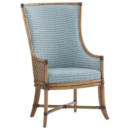 Tommy Bahama Home Twin Palms Balfour Woven Rattan Host Chair in Customizable Fabric