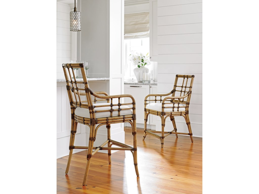 Tommy Bahama Home Twin PalmsLands End Counter Stool (Married Fabric)