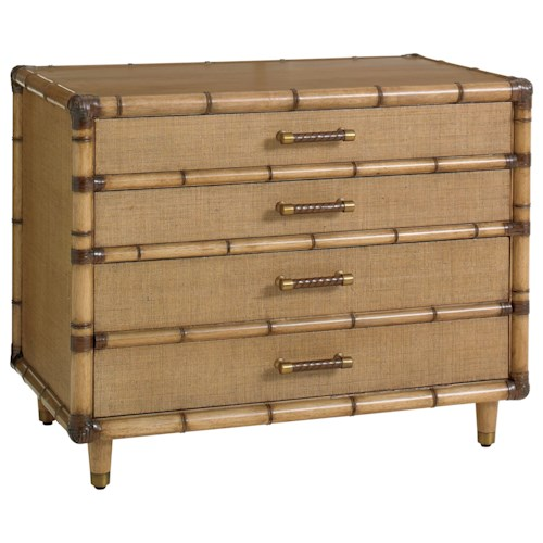 Tommy Bahama Home Twin Palms Soundings Raffia File Chest with Office and File Storage Drawers