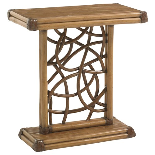 Tommy Bahama Home Twin Palms Angler Accent Table with Twisted Rattan Lattice