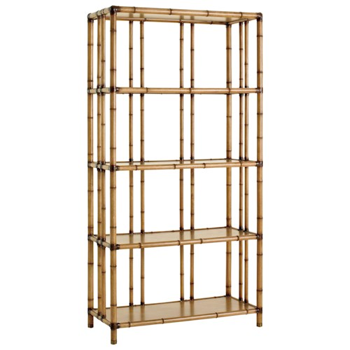 Tommy Bahama Home Twin Palms Seven Seas Etagere with Carved Bamboo Design