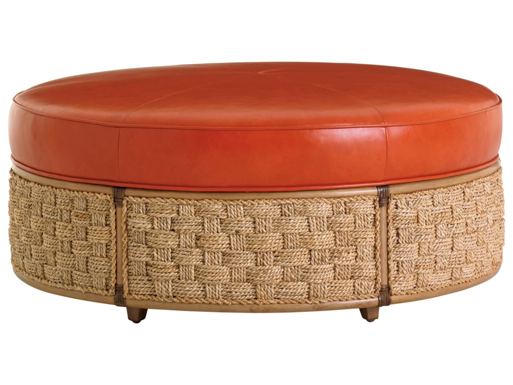 Tommy Bahama Home Twin Palms LL St Barts Cocktail Ottoman - Banana leaf coffee table