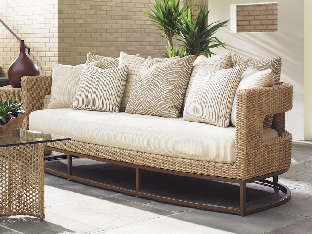 Tommy Bahama Outdoor Living Aviano Outdoor Wicker Sofa with ...