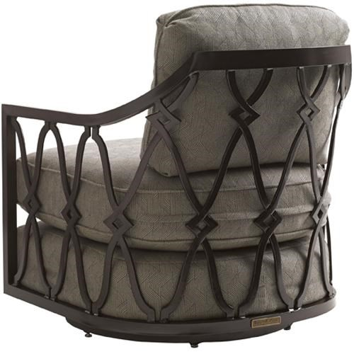 Tommy Bahama Outdoor Living Black Sands Outdoor Swivel Tub Chair With Track  Arms
