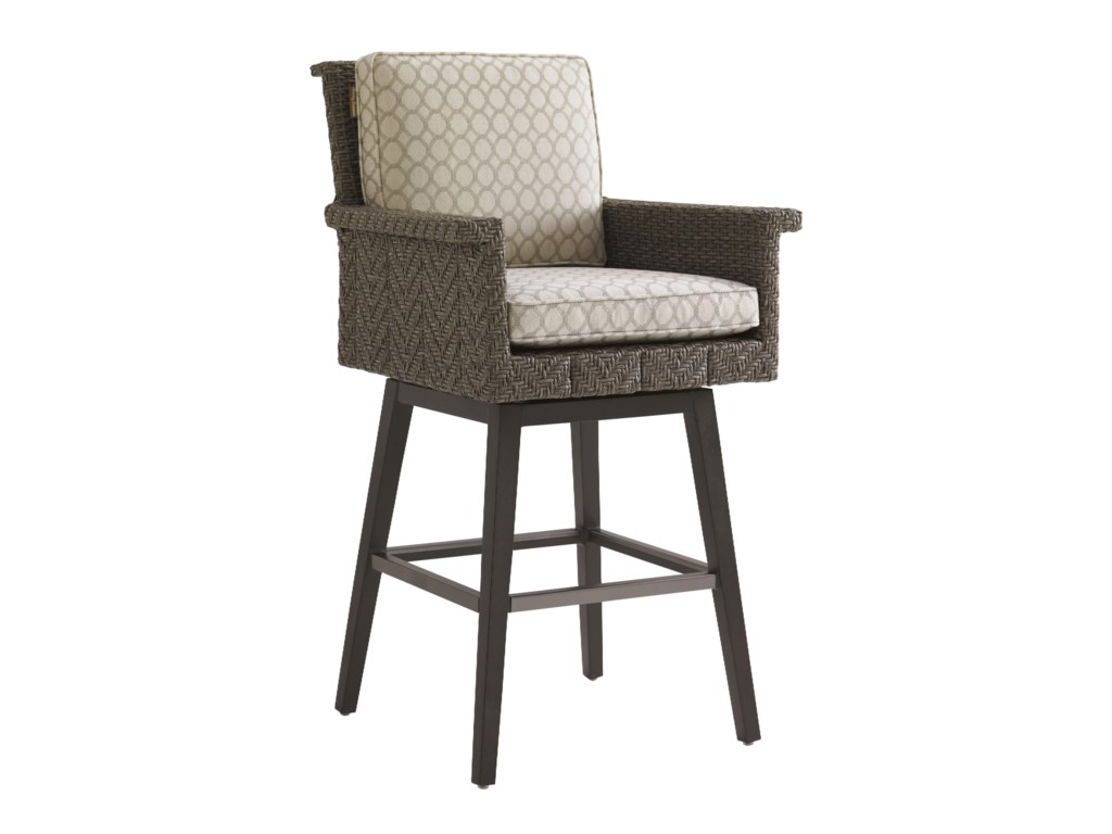 Tommy Bahama Outdoor Living Blue OliveSwivel Bar Stool