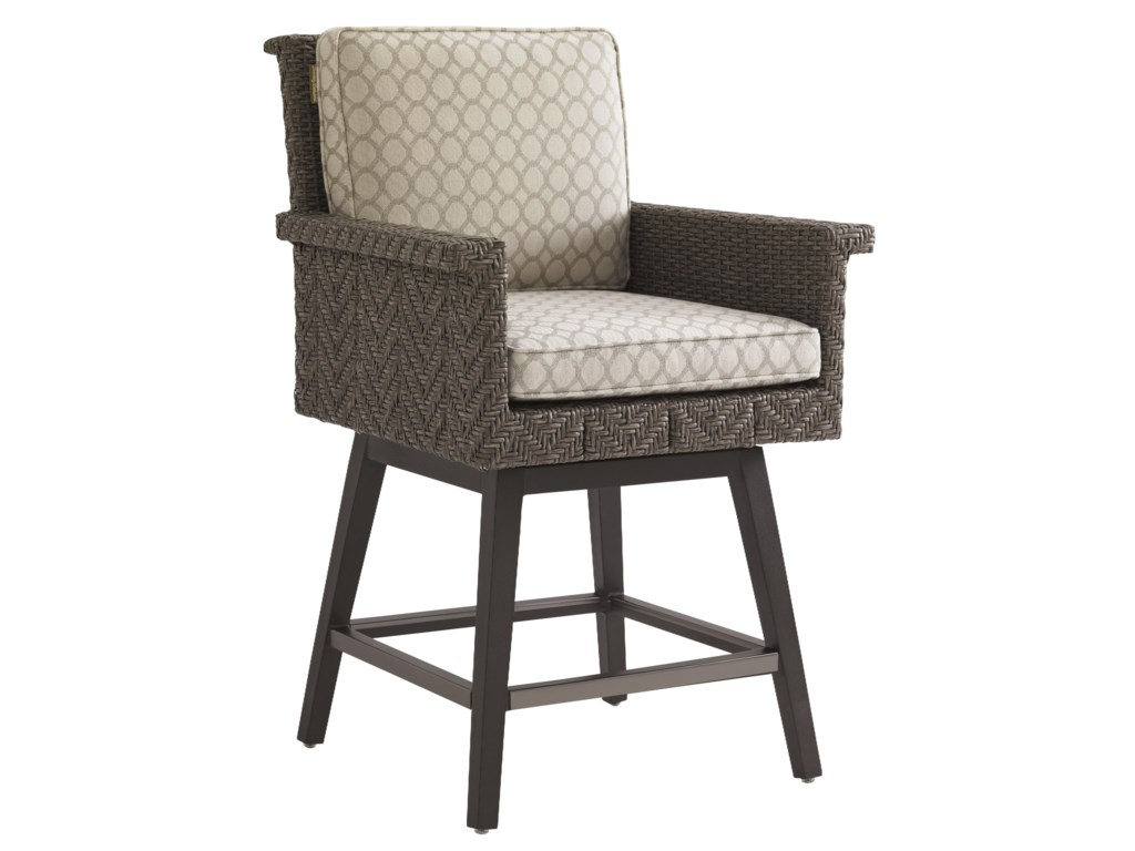 Tommy Bahama Outdoor Living Blue OliveSwivel Counter Stool