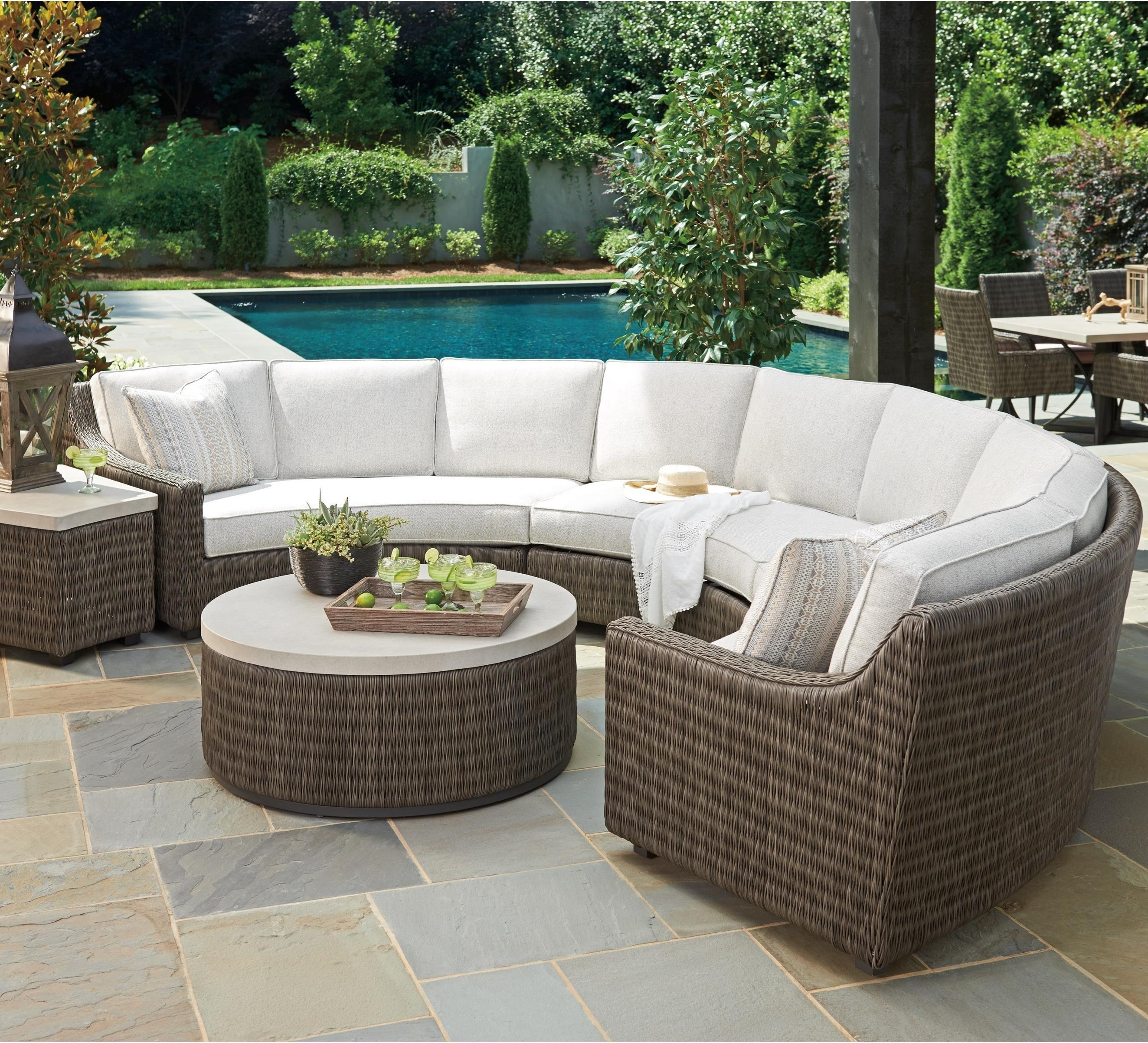 Tommy Bahama Outdoor Living Cypress Point Ocean Terrace6 Seat Curved  Sectional Sofa W/ Box Cushions ...