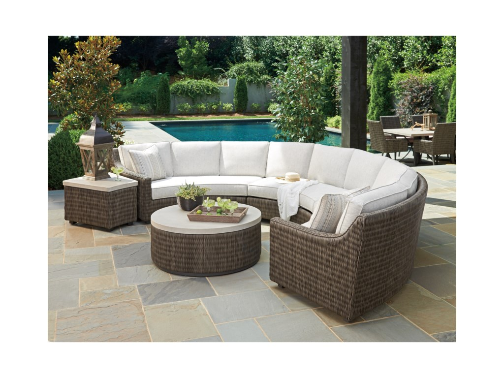 Tommy Bahama Outdoor Living Cypress Point Ocean Terrace6 Seat Curved Sectional Sofa w/ Box Cushions
