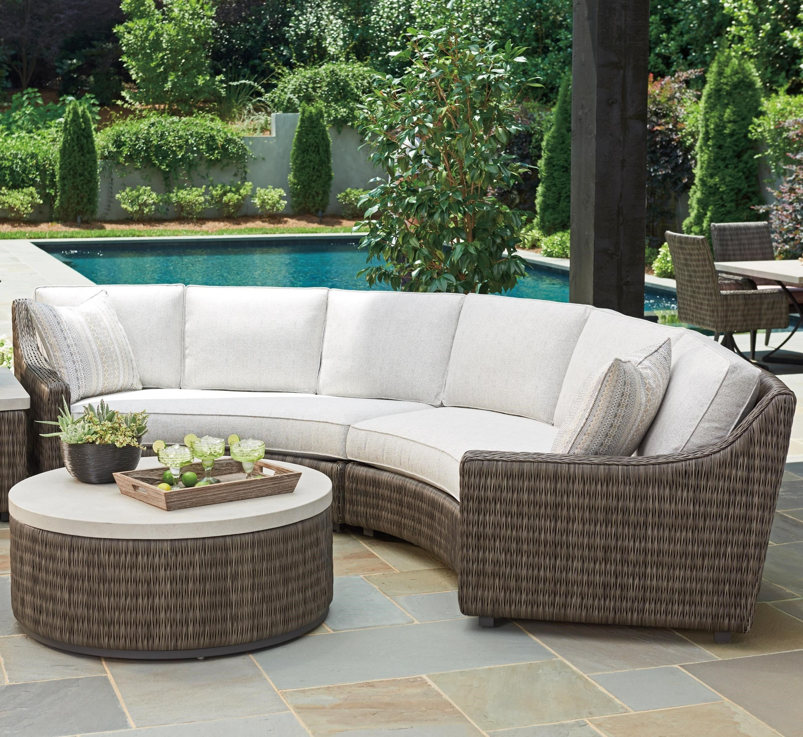 Tommy Bahama Outdoor Living Cypress Point Ocean Terrace 4 Seat Outdoor  Curved Sectional Sofa With Weatherproof