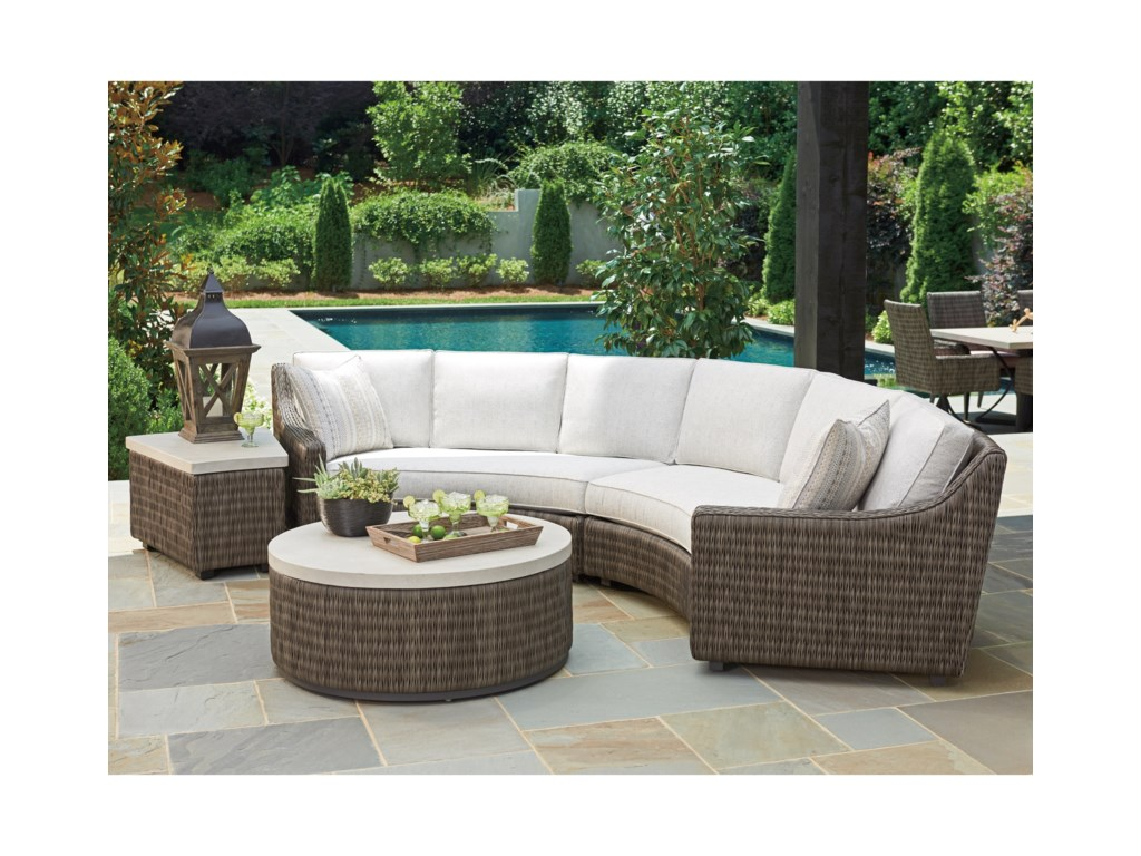 Tommy Bahama Outdoor Living Cypress Point Ocean Terrace4 Seat Curved Sectional Sofa w/ Box Cushions