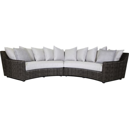 4 Seat Curved Sectional Sofa w/ Box Cushions