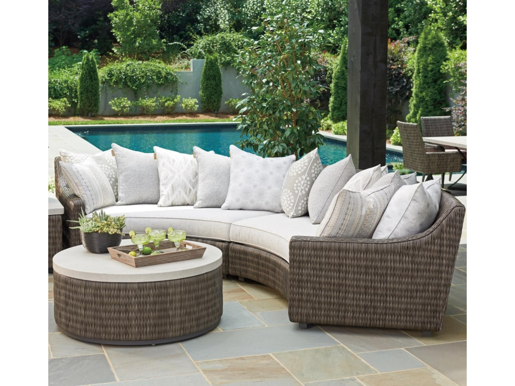 Tommy Bahama Outdoor Living Cypress Point Ocean Terrace4 Seat Curved Sect Sofa w/ Scatterback