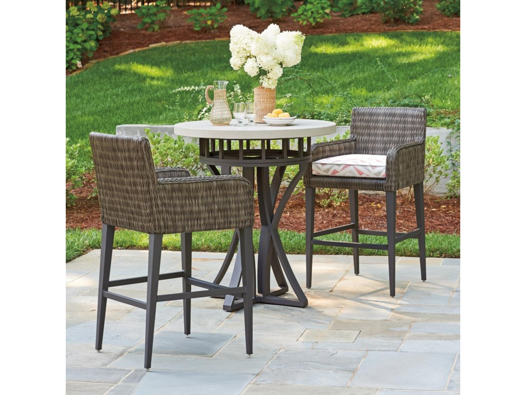 Tommy Bahama Outdoor Living Cypress Point Ocean Terrace3 Pc Outdoor Pub Dining Set