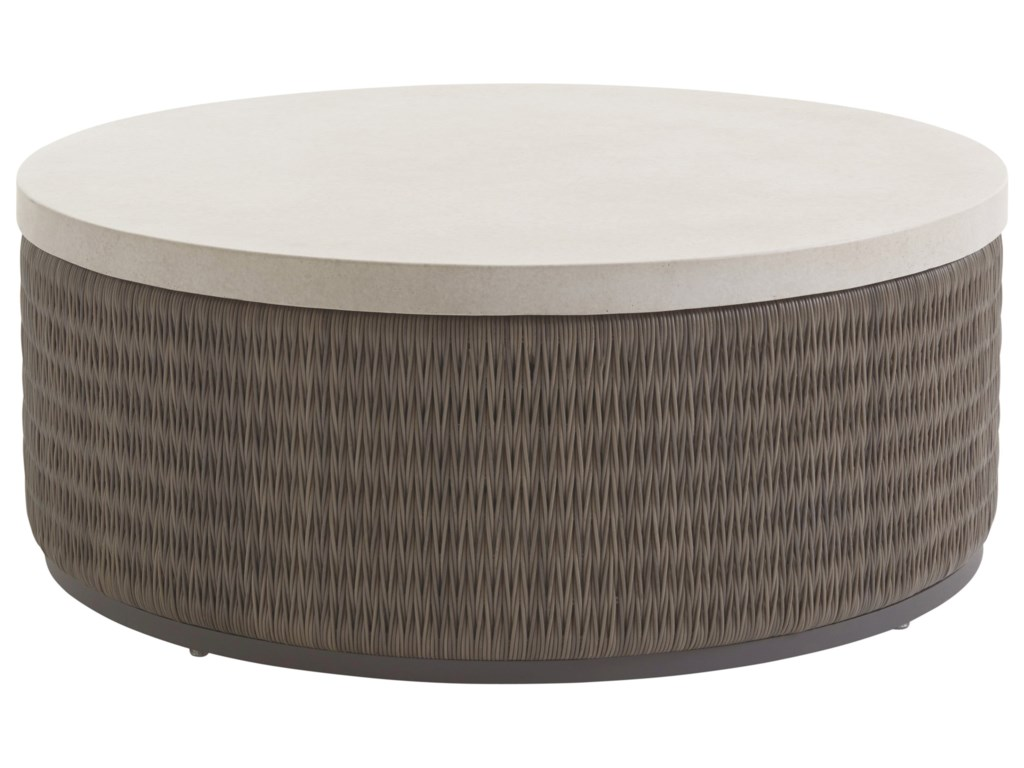 Tommy Bahama Outdoor Living Cypress Point Ocean TerraceRound Cocktail Table w/ Weatherstone Top