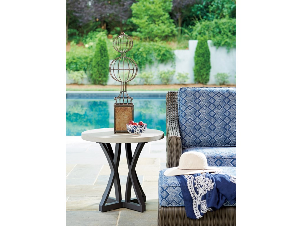 Tommy Bahama Outdoor Living Cypress Point Ocean TerraceOutdoor Side Table with Weatherstone Top