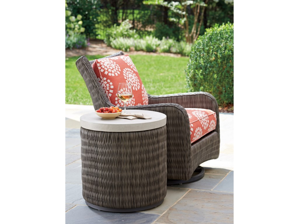 Tommy Bahama Outdoor Living Cypress Point Ocean TerraceRound End Table with Weatherstone Top