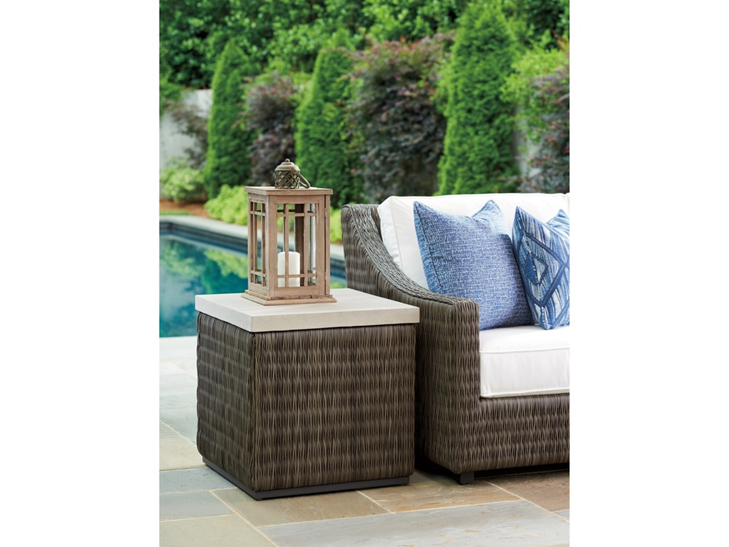 Tommy Bahama Outdoor Living Cypress Point Ocean TerraceOutdoor Sq End Table with Weatherstone Top